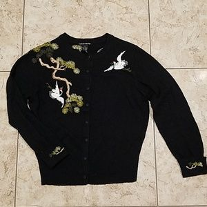 Lucky brand embroidered crane cardigan top